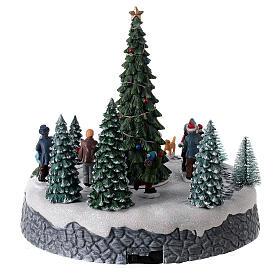 Villaggio luminoso pattinatori albero Natale LED musica 25x20x20 s5