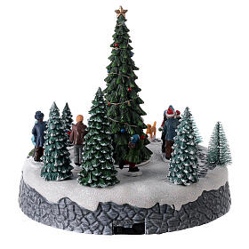 Lighted Christmas village ice skaters tree LED music 25x20x20 cm s5