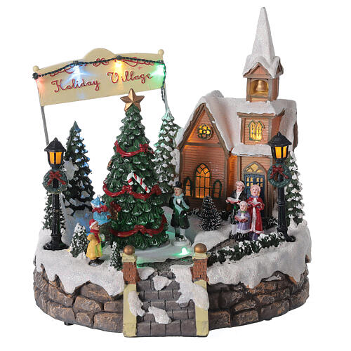 Village de Noël lumineux église choeur patineurs musique 20x25x25 cm 3