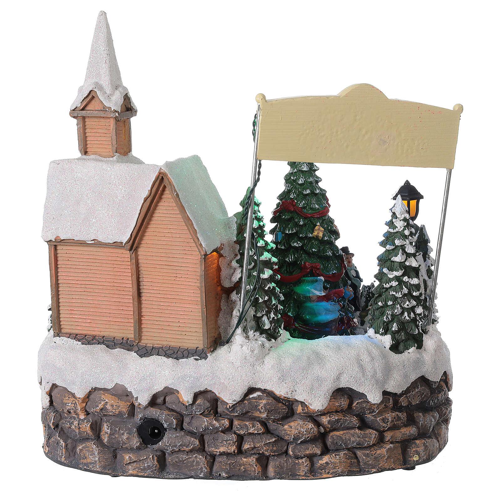 Villaggio Natale luminoso chiesa cori pattinatori musica 20x25x25 cm 3