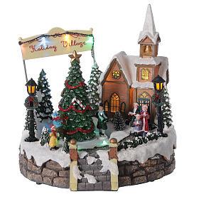 Villaggio Natale luminoso chiesa cori pattinatori musica 20x25x25 cm s3