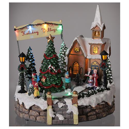 Villaggio Natale luminoso chiesa cori pattinatori musica 20x25x25 cm 2