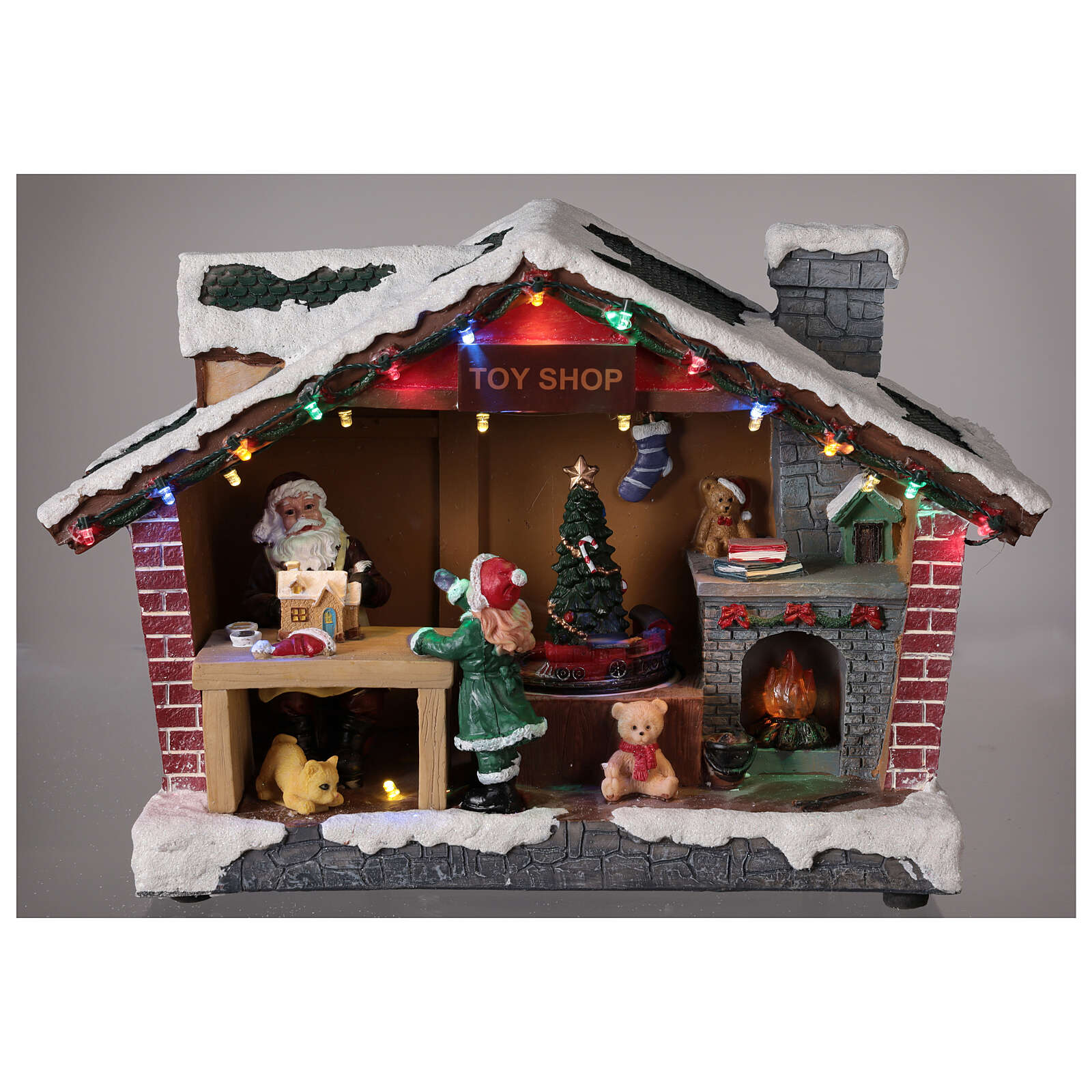 Christmas village Santa Claus house lights music 25x35x15 cm 3