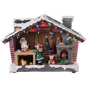 Villaggio Natale casa Babbo Natale luci musica 25x35x15 cm s1