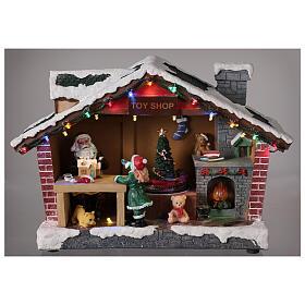 Villaggio Natale casa Babbo Natale luci musica 25x35x15 cm s2