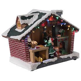Villaggio Natale casa Babbo Natale luci musica 25x35x15 cm s4