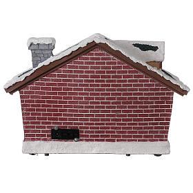 Villaggio Natale casa Babbo Natale luci musica 25x35x15 cm s5