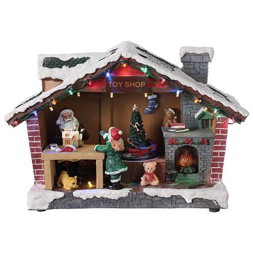 Villaggio Natale casa Babbo Natale luci musica 25x35x15 cm 1