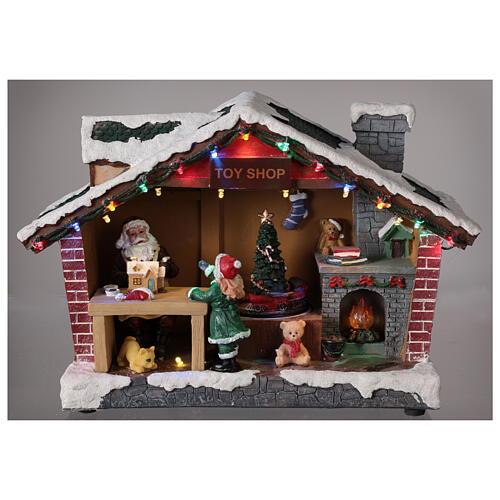 Villaggio Natale casa Babbo Natale luci musica 25x35x15 cm 2