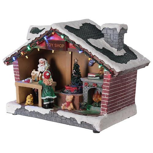 Villaggio Natale casa Babbo Natale luci musica 25x35x15 cm 3