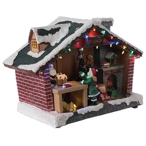 Villaggio Natale casa Babbo Natale luci musica 25x35x15 cm 4