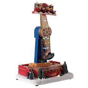 Manège Noël balancier lumières LED musique 40x30x20 cm s3