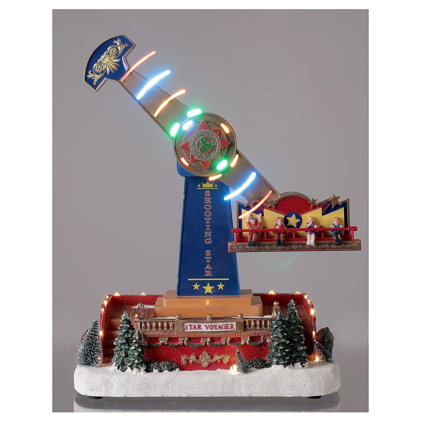 Giostra natalizia pendolo luci led musica 40x30x20 cm 3
