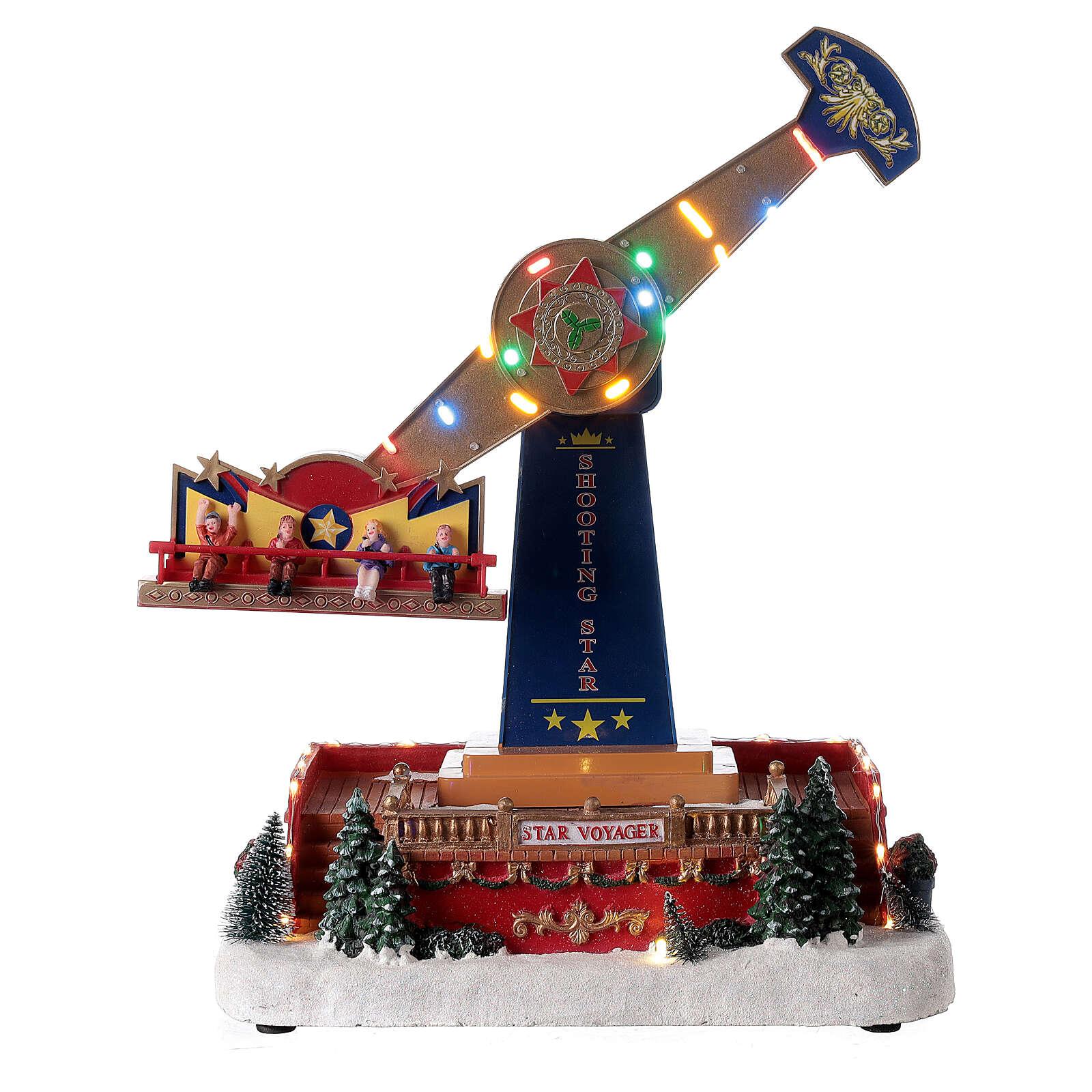 Pendulum ride Christmas village LED lights music 40x30x20 cm 3