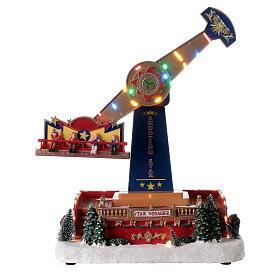 Pendulum ride Christmas village LED lights music 40x30x20 cm s1