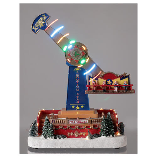 Pendulum ride Christmas village LED lights music 40x30x20 cm 2