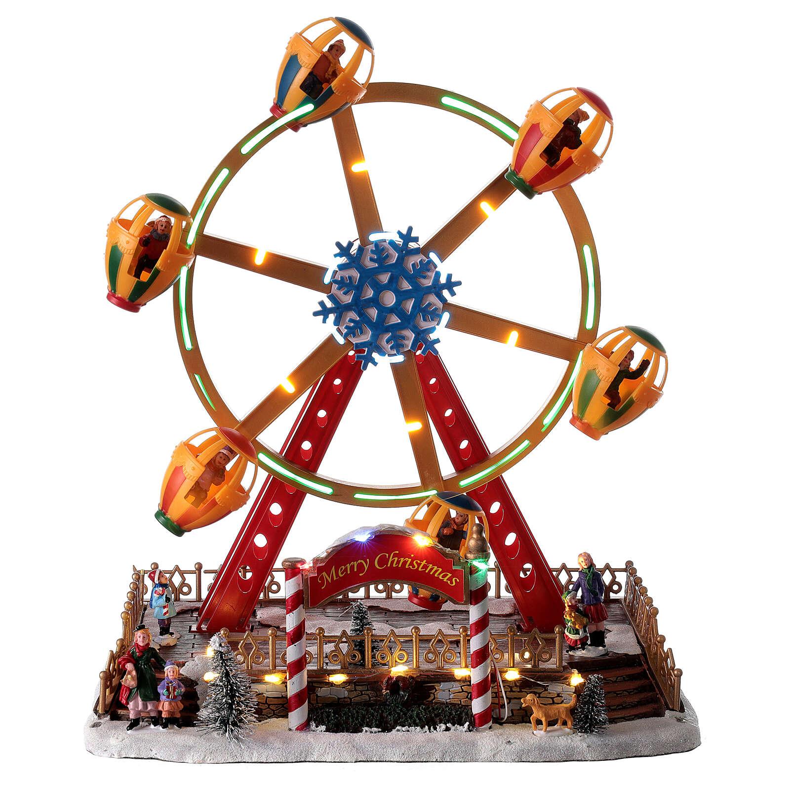 Décor foire de Noël lumières musique roue panoramique 40x30x30 cm 3