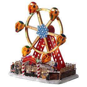 Décor foire de Noël lumières musique roue panoramique 40x30x30 cm s3