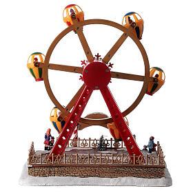 Décor foire de Noël lumières musique roue panoramique 40x30x30 cm s5