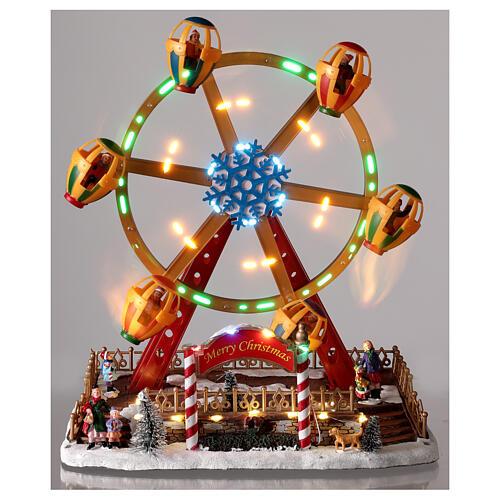 Décor foire de Noël lumières musique roue panoramique 40x30x30 cm 2