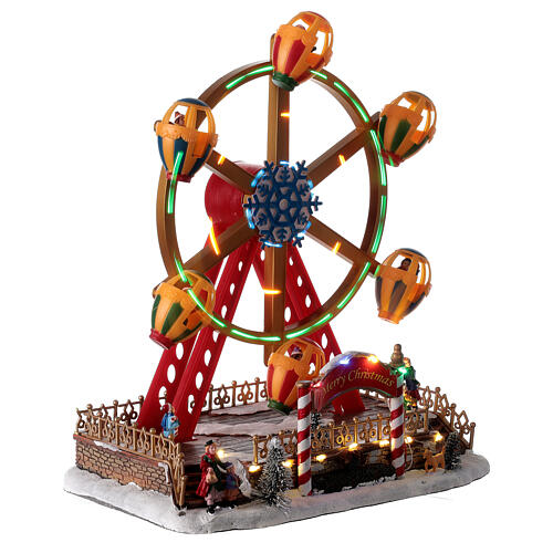 Décor foire de Noël lumières musique roue panoramique 40x30x30 cm 4