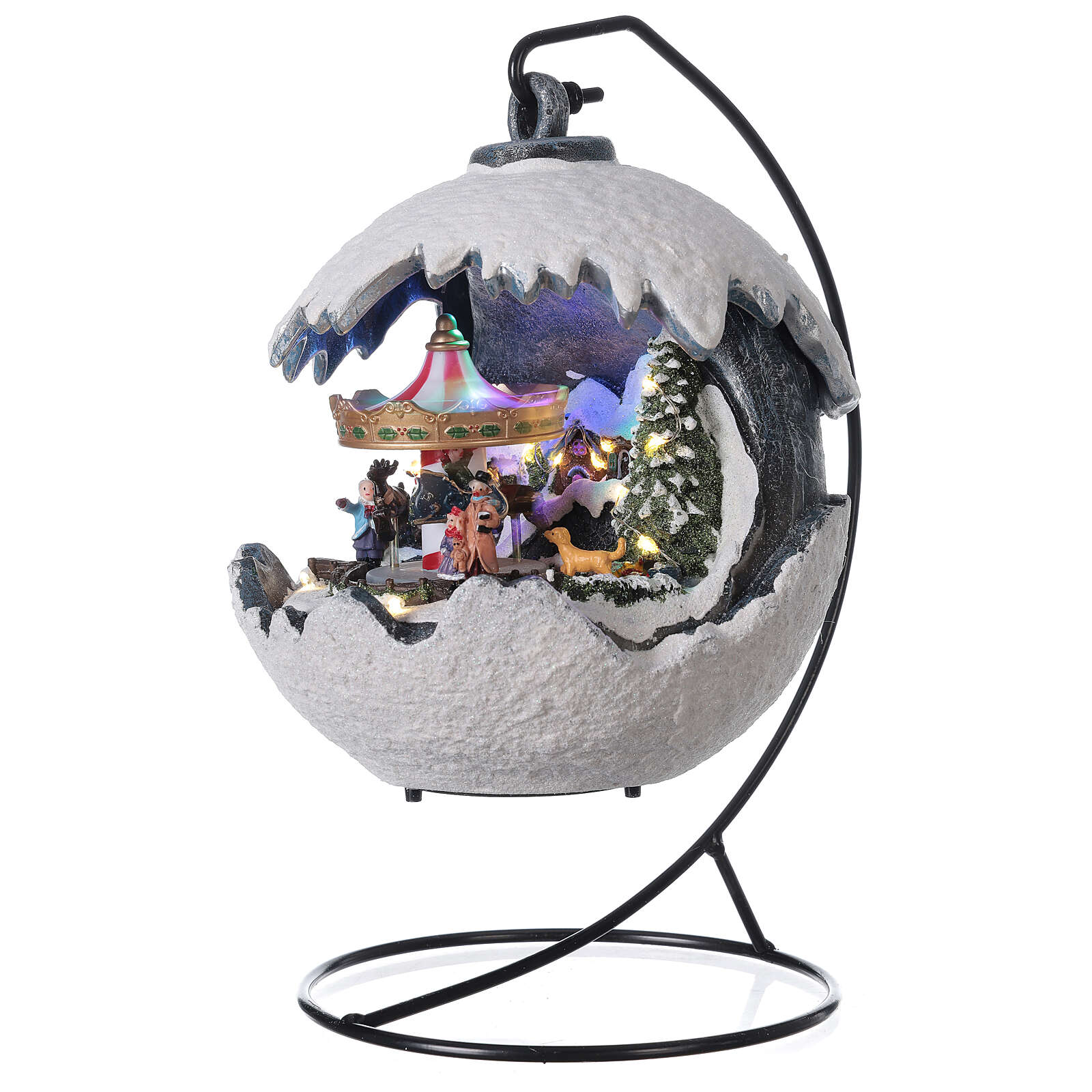Christmas village snowball horse carousel music with base 20x20x20 cm 3