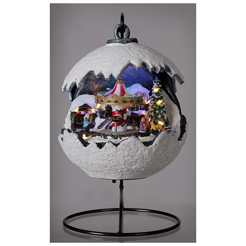 Christmas village snowball horse carousel music with base 20x20x20 cm 2