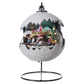 Christmas village snowball horse carousel music with base 20x20x20 cm s1