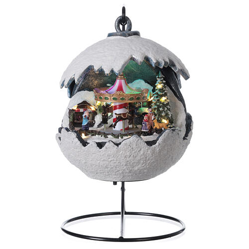 Christmas village snowball horse carousel music with base 20x20x20 cm 1