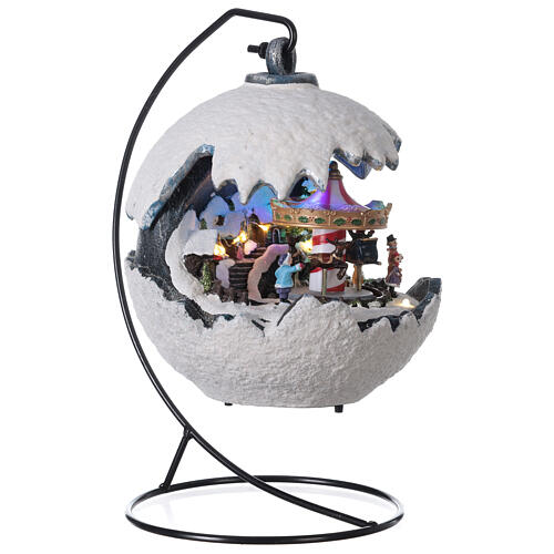 Christmas village snowball horse carousel music with base 20x20x20 cm 4