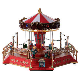 Christmas swing carousel village lights music 25x35x30 cm s1