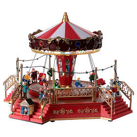 Christmas swing carousel village lights music 25x35x30 cm s3