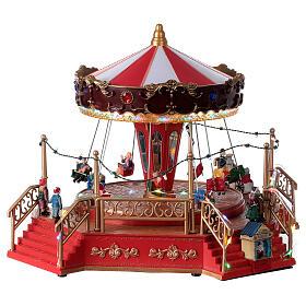 Christmas swing carousel village lights music 25x35x30 cm s4
