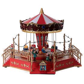 Christmas swing carousel village lights music 25x35x30 cm s5