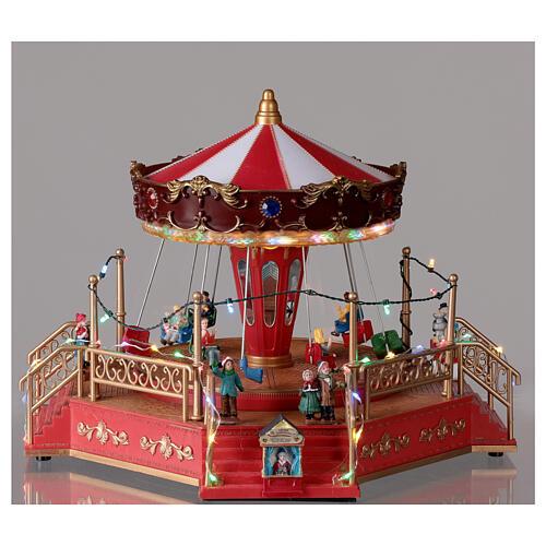 Christmas swing carousel village lights music 25x35x30 cm 2