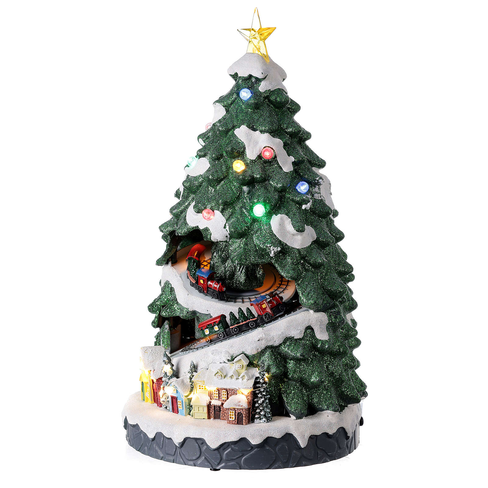 Tree Christmas village train Santa sleigh lights music 45x25x25 cm 3