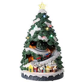 Tree Christmas village train Santa sleigh lights music 45x25x25 cm s1