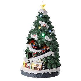Tree Christmas village train Santa sleigh lights music 45x25x25 cm s3