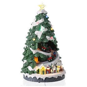 Tree Christmas village train Santa sleigh lights music 45x25x25 cm s4