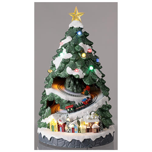 Tree Christmas village train Santa sleigh lights music 45x25x25 cm 2