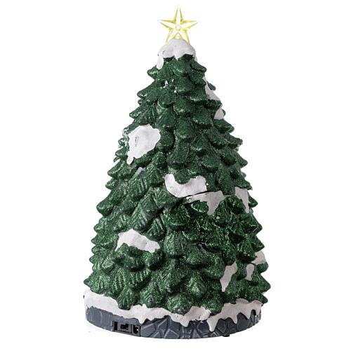 Tree Christmas village train Santa sleigh lights music 45x25x25 cm 5