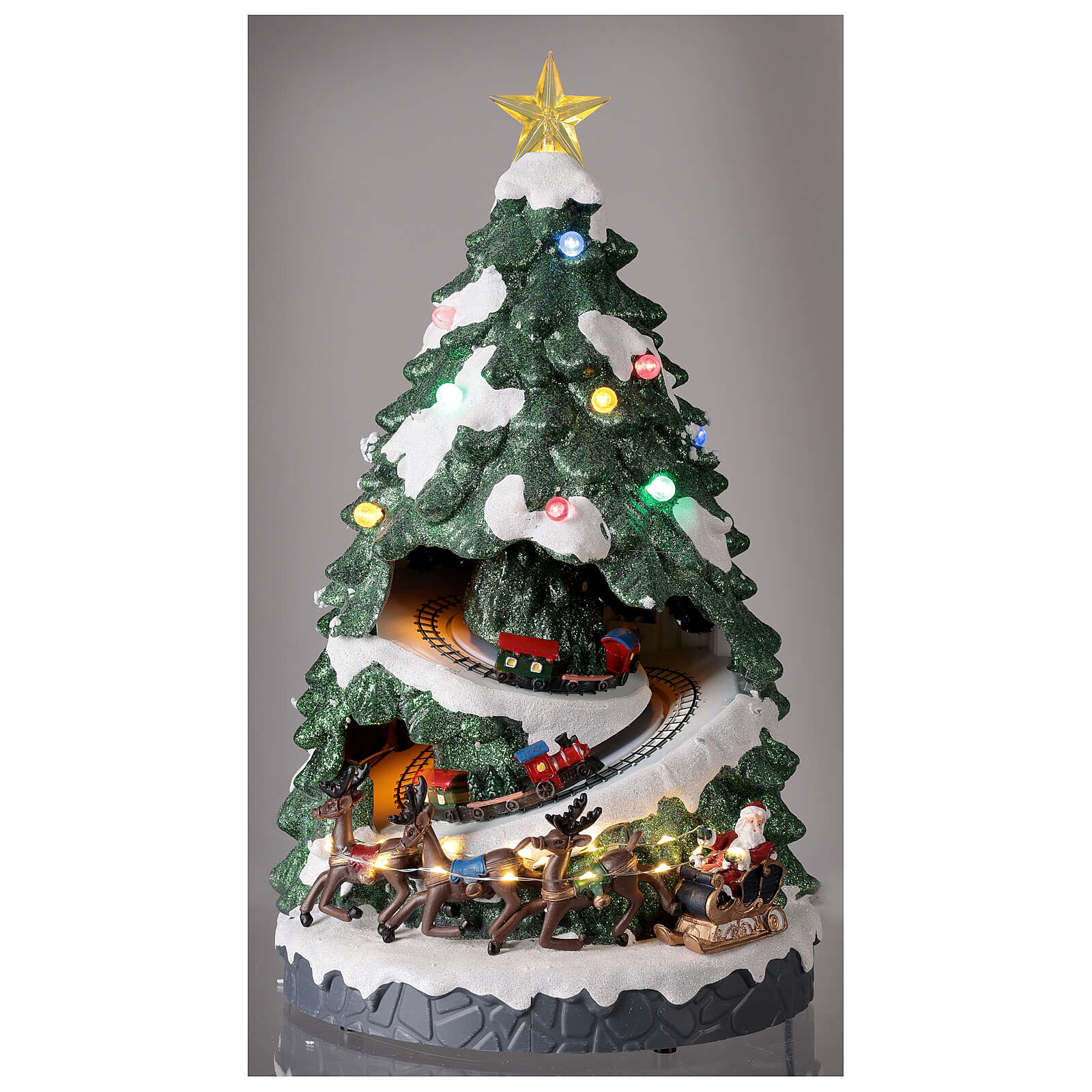 Tree Christmas village town houses lights music 45x25x25 cm 3