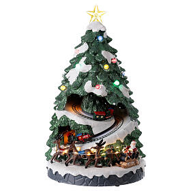Tree Christmas village town houses lights music 45x25x25 cm s1