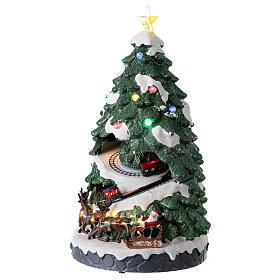Tree Christmas village town houses lights music 45x25x25 cm s3