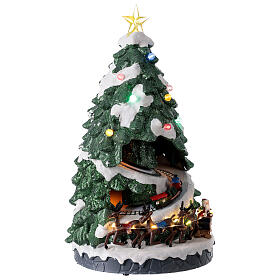 Tree Christmas village town houses lights music 45x25x25 cm s4
