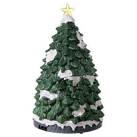 Tree Christmas village town houses lights music 45x25x25 cm s5
