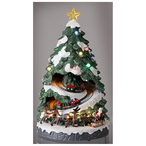 Tree Christmas village town houses lights music 45x25x25 cm 2