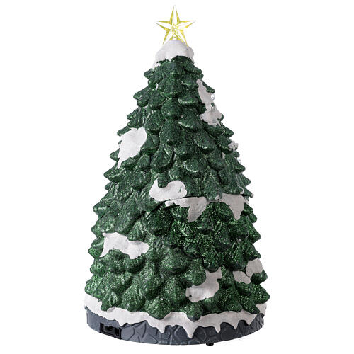 Tree Christmas village town houses lights music 45x25x25 cm 5