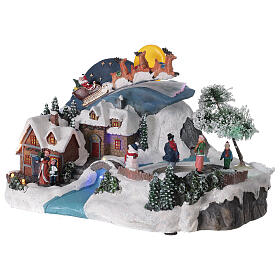 Christmas village sleigh Santa Claus moon LED music 20x35x20 cm s3