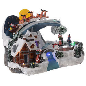 Christmas village sleigh Santa Claus moon LED music 20x35x20 cm s4